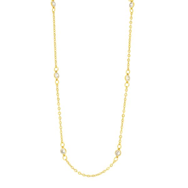 Gargantilha de Ouro 18K com Pedras de Zircônia