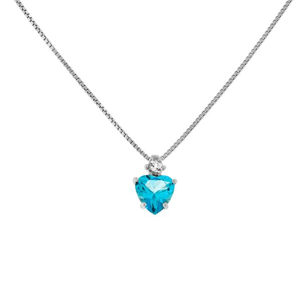 Gargantilha Ouro Branco 18K Coração Pedra de Topázio Azul