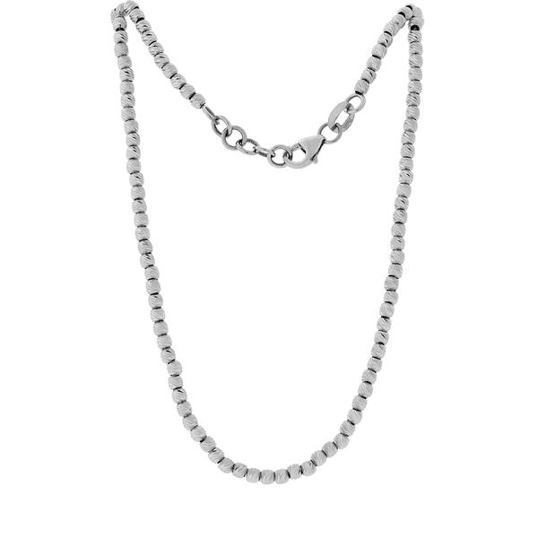 Gargantilha em Ouro Branco 18K Bolinhas Diamantadas