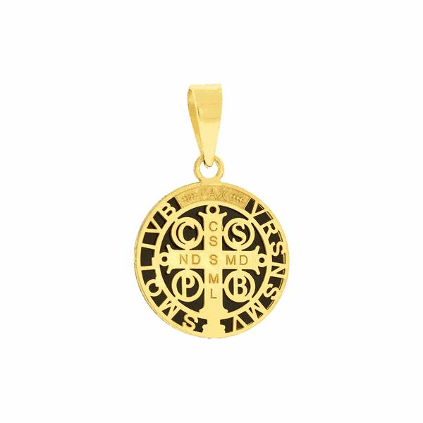 Pingente Ouro 18K Medalha de São Bento Aplique de Resina Pequeno