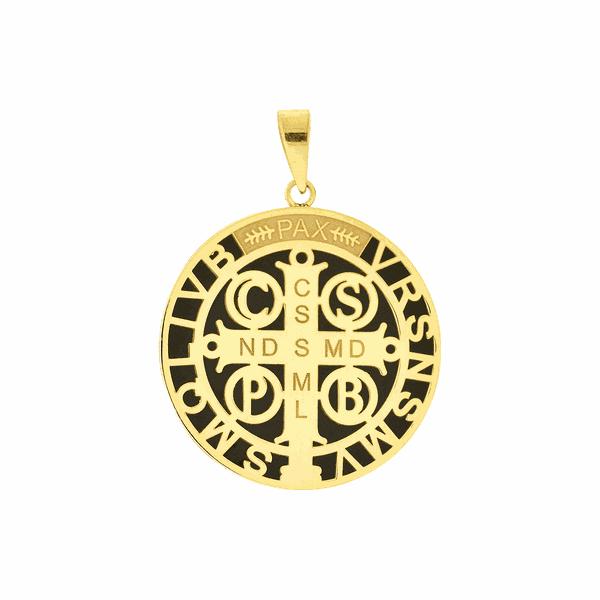 Pingente Ouro 18K Medalha de São Bento Aplique de Resina Grande