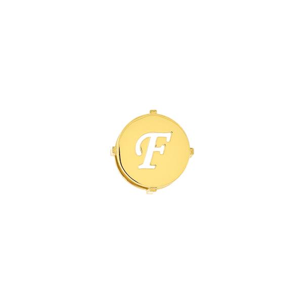 Pingente de Ouro 18K Letra F Redondo