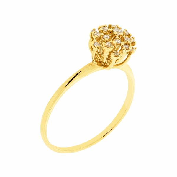 Anel Buquê de Diamantes em Ouro 18K