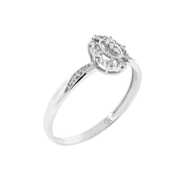Anel de Ouro Branco 18K Detalhe Oval com Diamantes