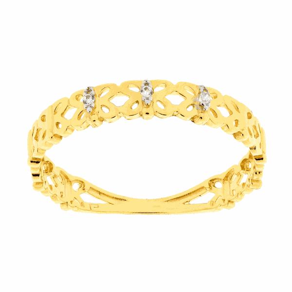 Anel de Ouro 18K Borboletas e Pedras de Zircônia