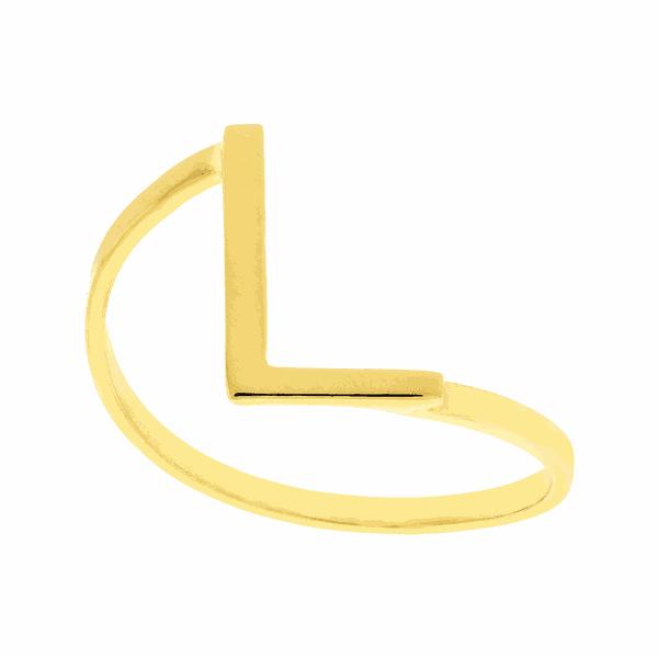 Anel de Letra L em Ouro 18K