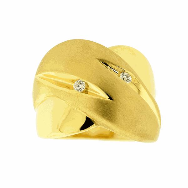 Anel Ouro 18K Detalhe Fosco Sobreposto com Brilhantes