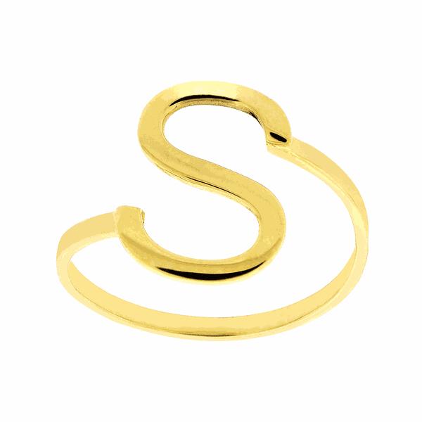 Anel de Letra S em Ouro 18K