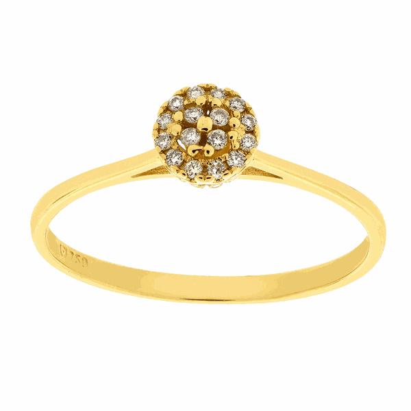 Anel Buquê de Diamantes Redondo de Ouro 18K