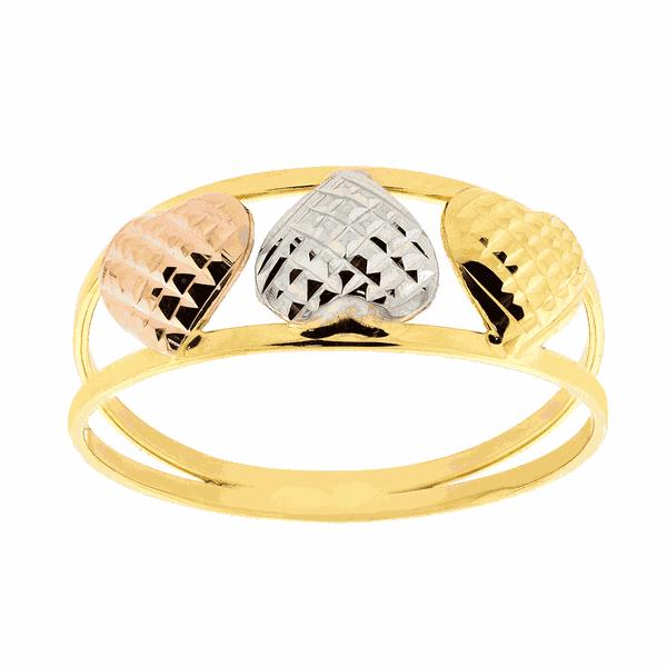 Anel 3 Cores Ouro 18K com 3 Corações Diamantado