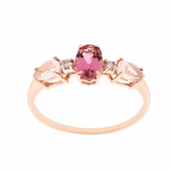 Anel de Ouro Rosé 18K com Pedras de Quartzo Rosa, Turmalina Rosa e Brilhantes