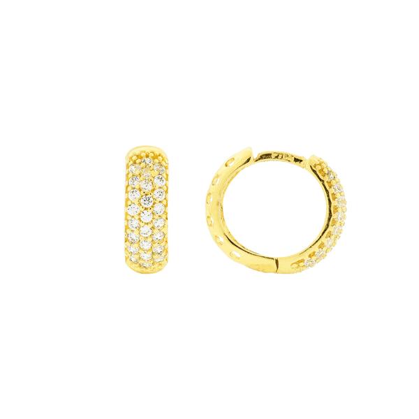 Brinco de Argola Pequeno com Pedras Ouro 18K