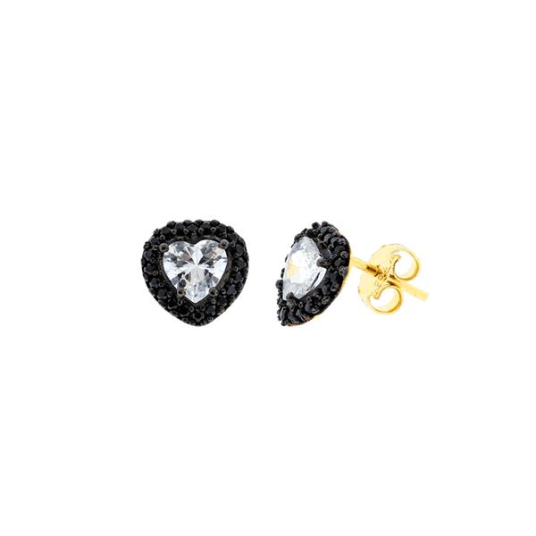 Brinco de Ouro 18K Coração com Pedras de Zircônia