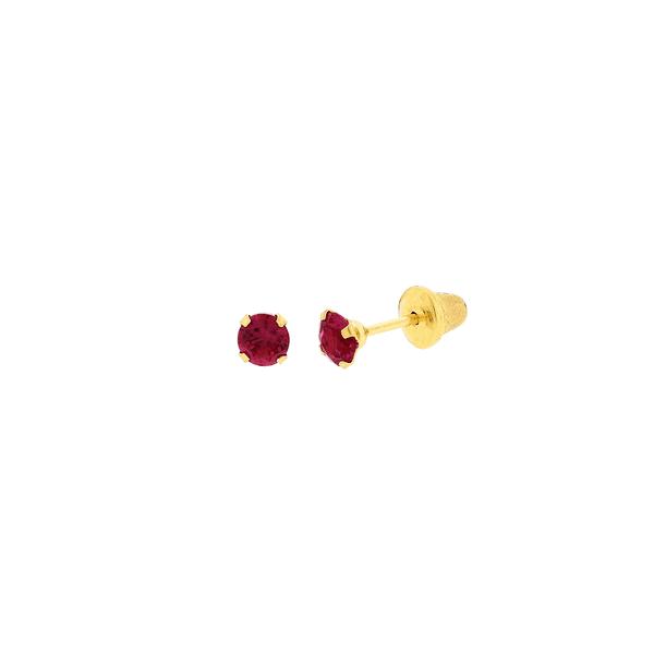 Brinco de Ouro Infantil Zircônia Vermelha 3mm