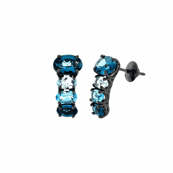 Brinco de Ouro 18K com Pedras Azuis de Topázio