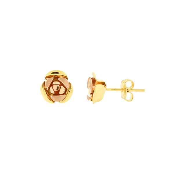 Brinco de Rosa em Ouro 18K Bicolor