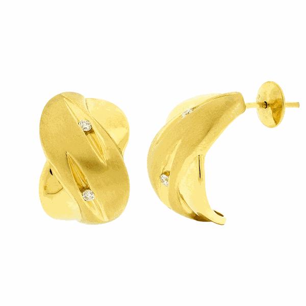 Brinco de Ouro 18K Detalhe Fosco Brilhantes