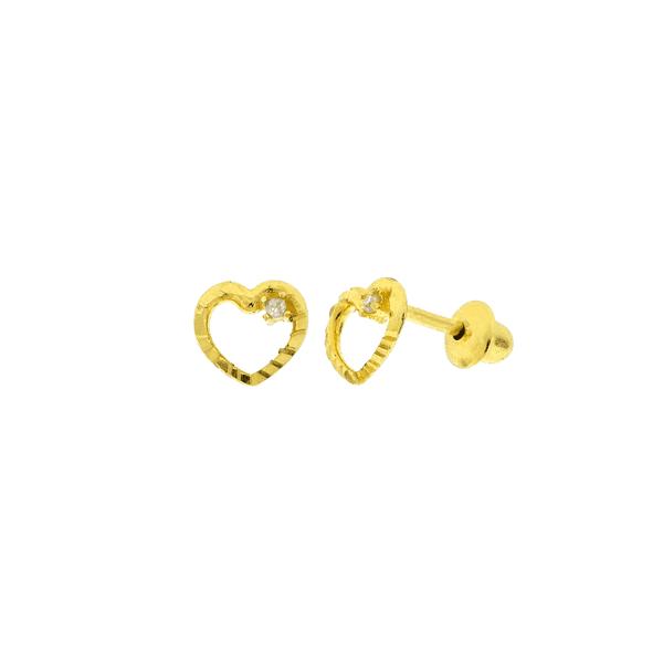 Brinco de Ouro 18K Coração Pequeno com Brilhante