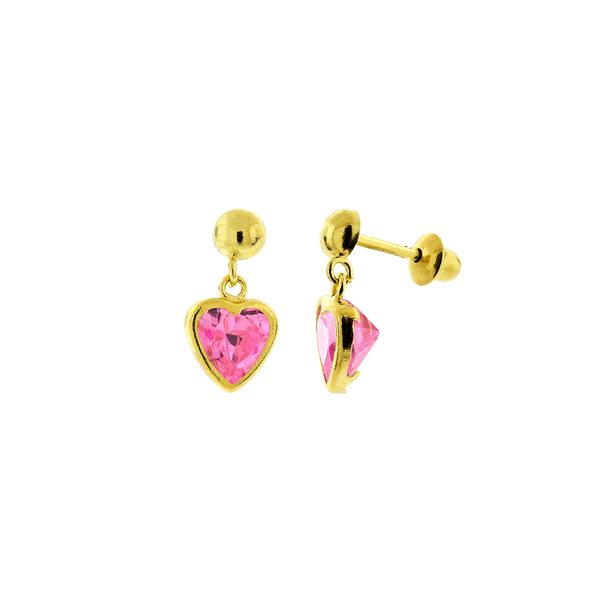 Brinco Infantil Ouro 18K Coração Zircônia Rosa Pendurado