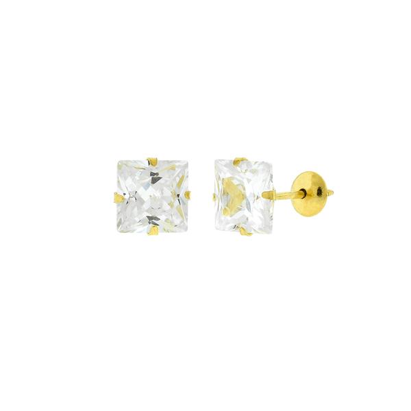Brinco de Ouro 18K Pedra de Zircônia Carre 6 x 6mm