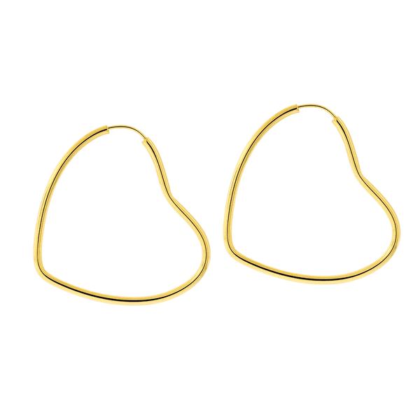 Brinco Argola Coração de Ouro 18K 3,6 x 4 cm
