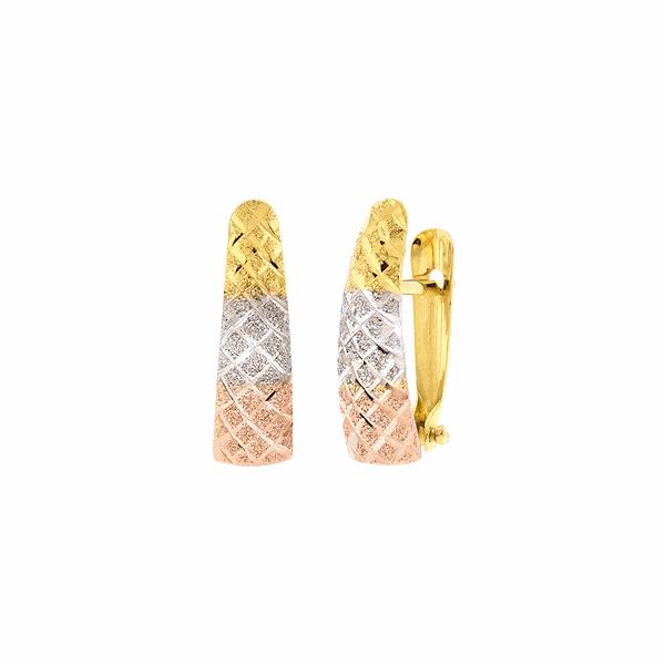 Brinco Feminino de Ouro 3 Cores 18K Diamantado