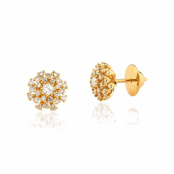 Brinco em Ouro 18K Buquê com Pedras de Diamante