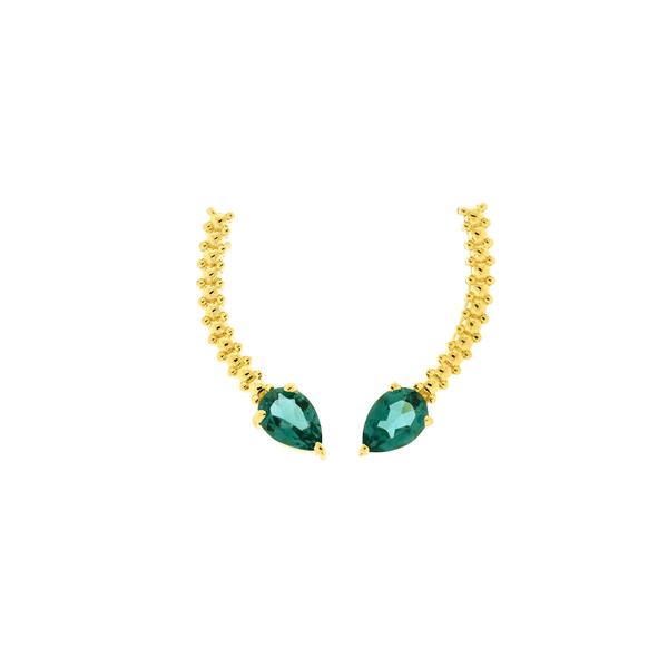 Brinco Ear Cuff Ouro 18K Pedra Topázio Verde Trabalhado