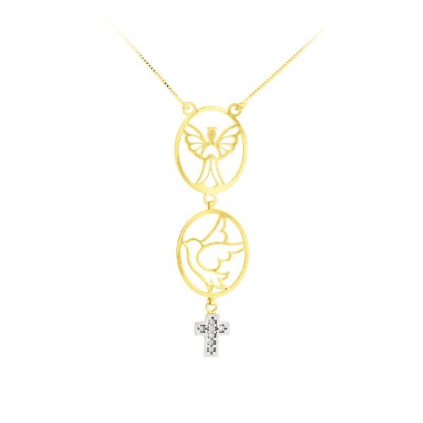Gargantilha Ouro 18K Pingentes Anjo e Espírito Santo