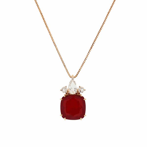 Gargantilha em Ouro Rosé 18K com Pedras de Quartzito Vermelho e Topázio