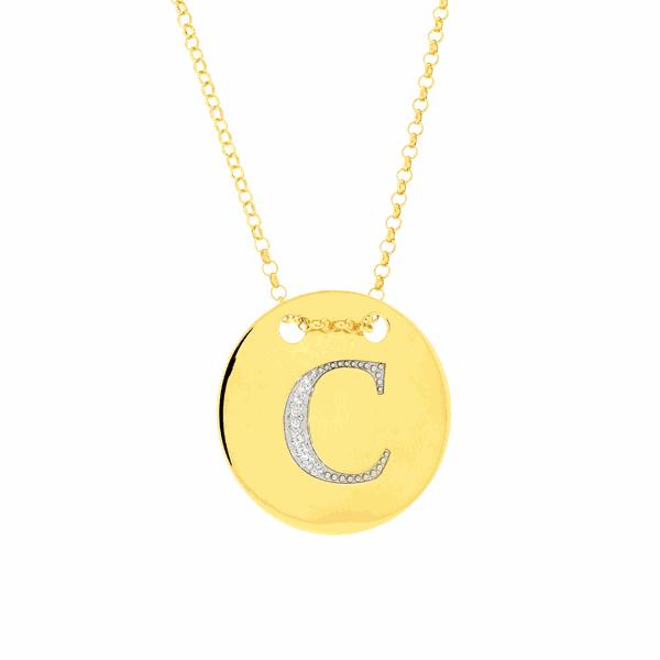 Colar com Letra C em Ouro 18K com Pedras de Brilhante
