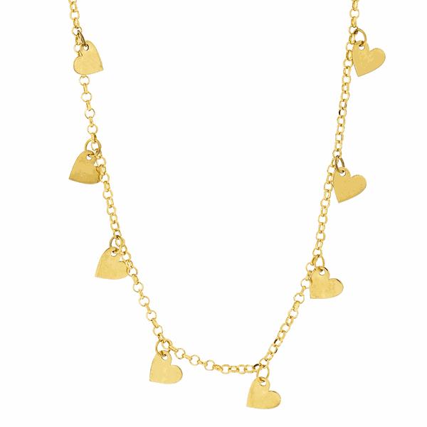 Gargantilha em Ouro 18K Choker com Corações Pendurados