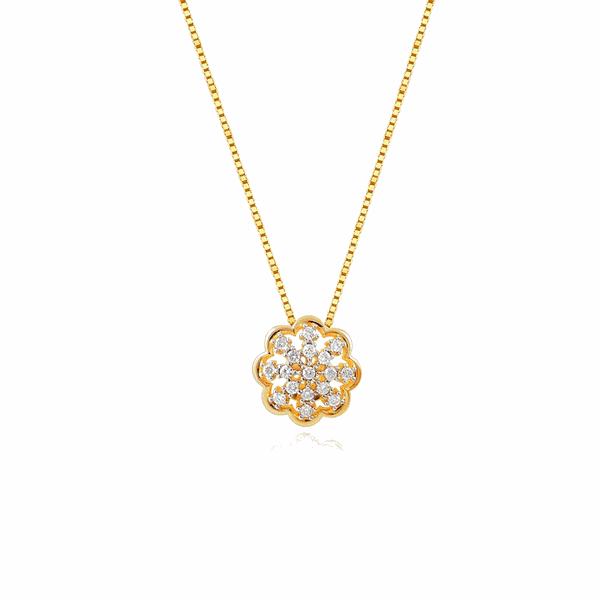 Gargantilha de Ouro 18K Flor com Pedras de Brilhante
