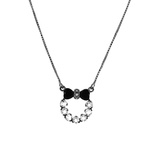 Gargantilha de Ouro 18K Círculo com Diamantes e Ônix