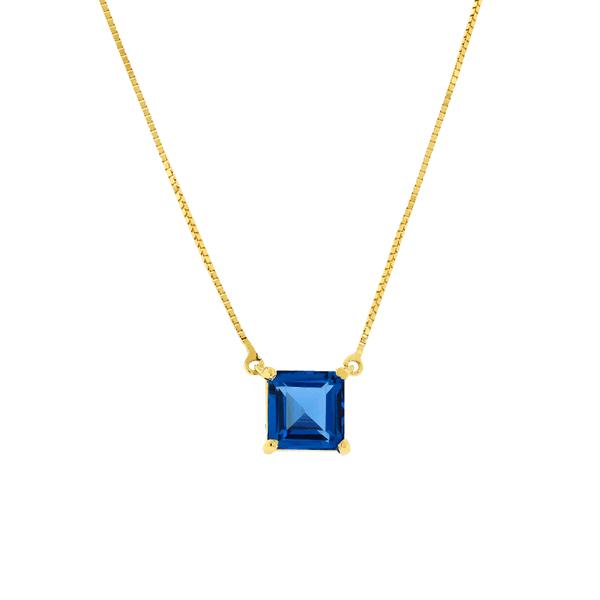 Gargantilha Ouro 18K Pedra Topázio London Azul
