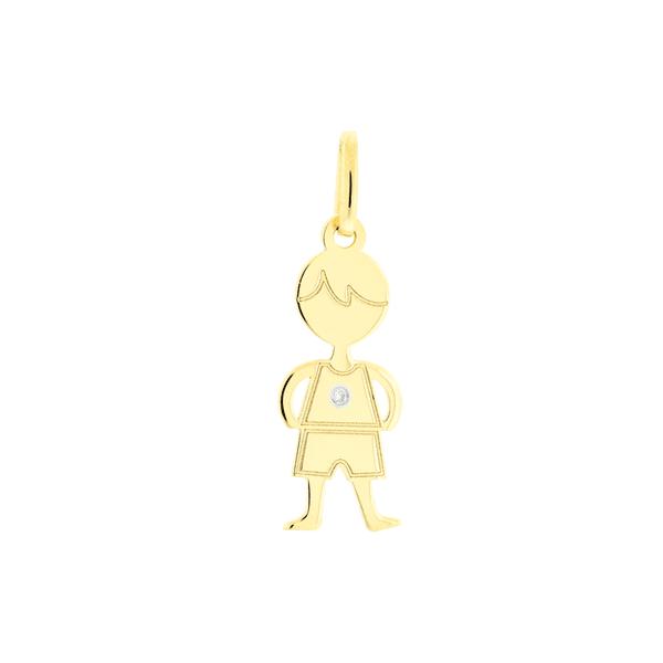 Pingente de Ouro 18K Menino Polido com Brilhante