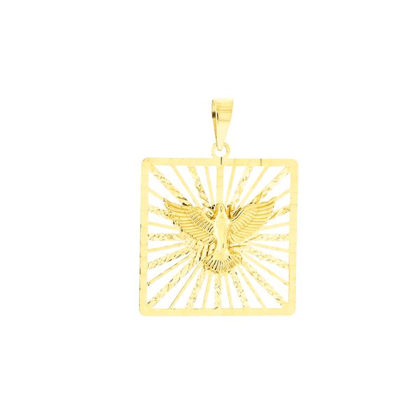Pingente de Ouro 18K Divino Espírito Santo Quadrado