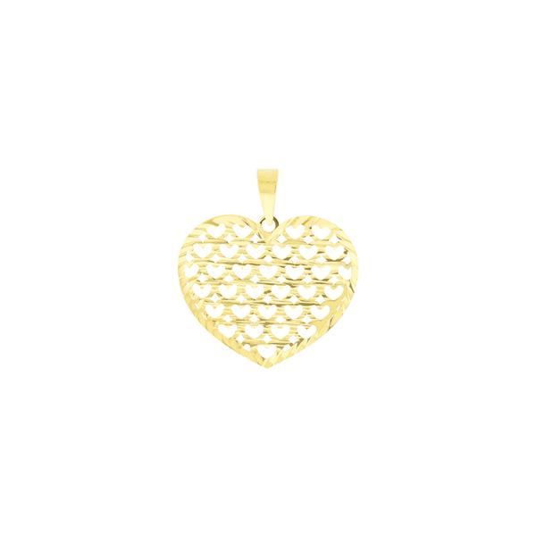 Pingente de Ouro 18K Coração Vazado com Corações