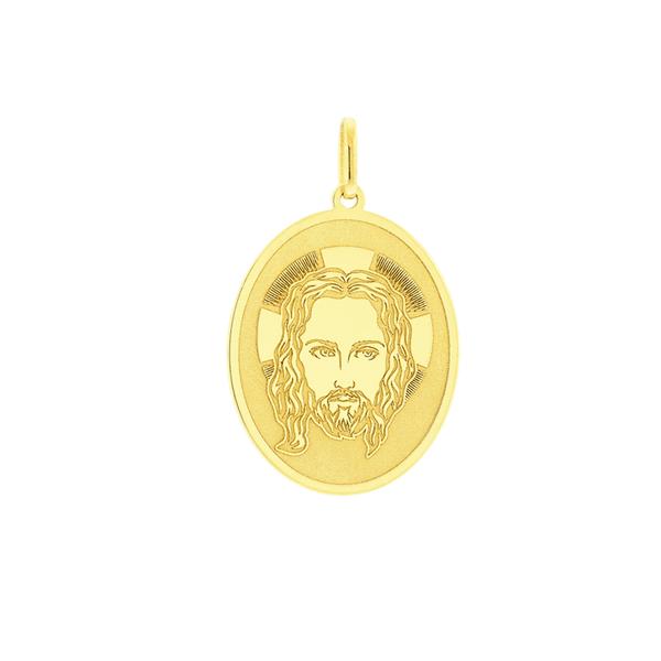 Pingente de Ouro 18K Face de Cristo com Oração Pai Nosso
