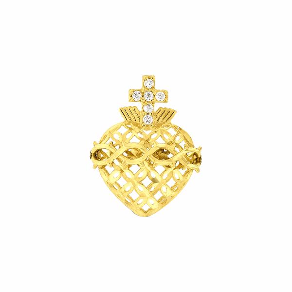 Pingente Sagrado Coração de Jesus em Ouro 18K Médio
