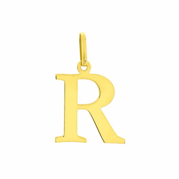 Pingente de Letra R em Ouro 18K