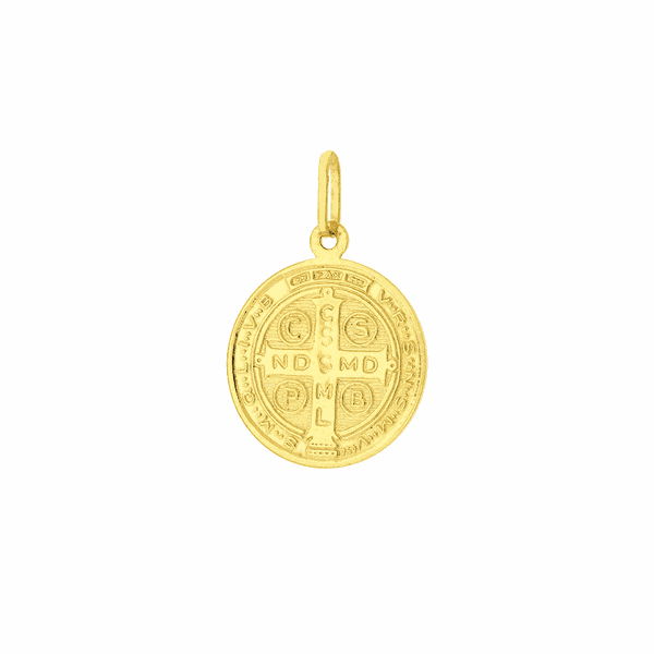 Pingente Ouro 18K Medalha de São Bento em Pé 1,7cm