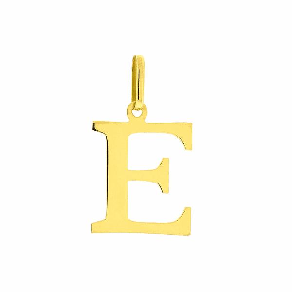 Pingente de Letra E em Ouro 18K