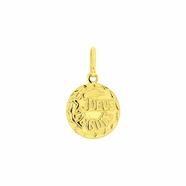 Pingente de Ouro 18K Medalha Pequena Deus te Guie