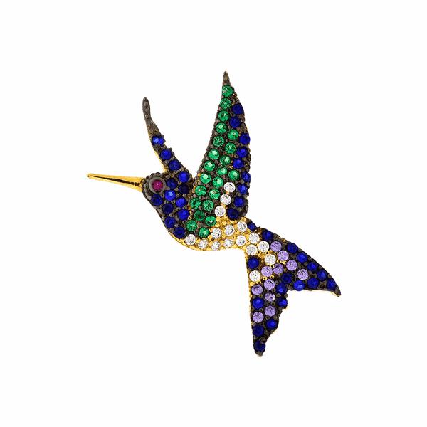 Pingente de Ouro 18K Beija-Flor com Zircônias