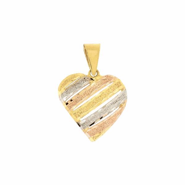 Pingente de Coração em Ouro Tricolor 18K