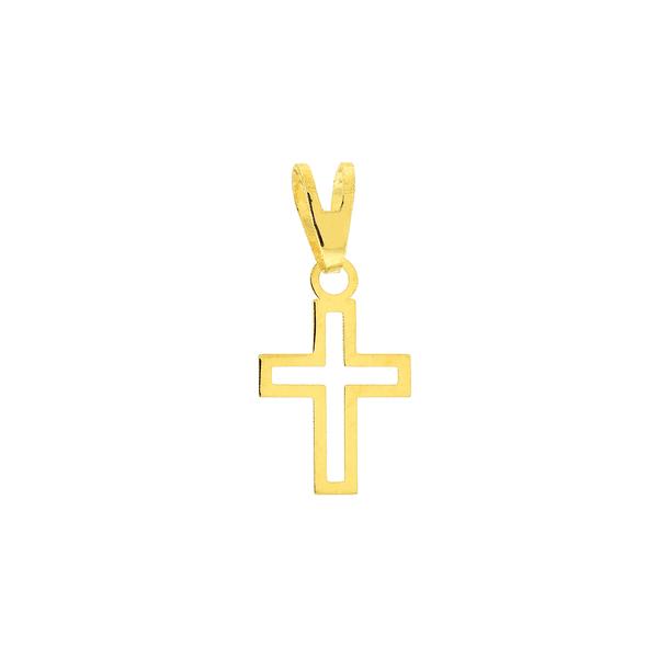 Pingente de Cruz em Ouro 18K Pequena Vazada