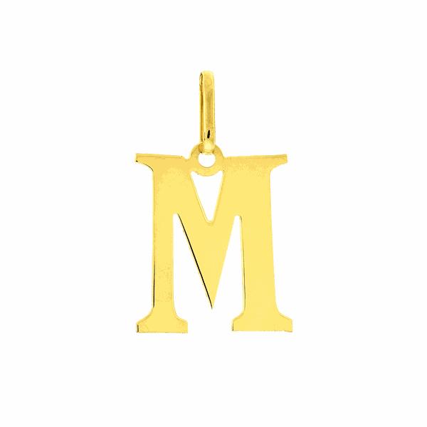 Pingente de Letra M em Ouro 18K