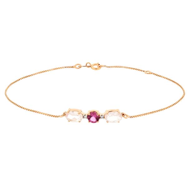 Pulseira Feminina em Ouro Rosé 18K com pedras de Quartzo Rosa, Turmalina Rosa e Brilhantes