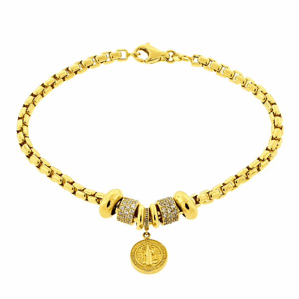 Pulseira de Ouro 18K Feminina com Medalha de São Bento